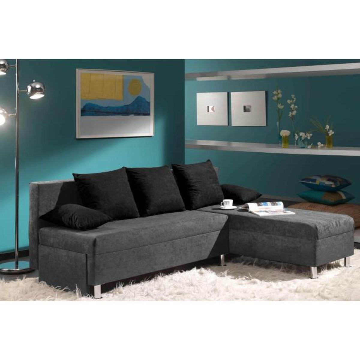canap d 39 angle convertible modulable gris soya achat vente canap sofa divan cdiscount. Black Bedroom Furniture Sets. Home Design Ideas