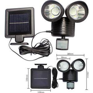 Capteur de mouvement solaire 22 LED Lumière double tête extérieure Projecteur