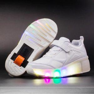 Nouveau Style Enfant Basket Roulettes à Blanc Chaussures Led Lumière Chaussures Garçons Filles Sneakers Une Roues