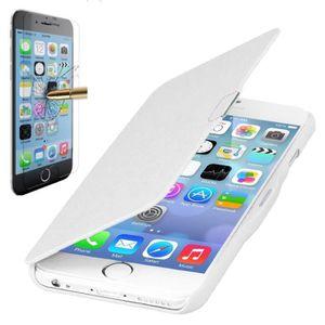 HOUSSE - ÉTUI Coque iPhone 6-6S PLUS Rabat magnétique Blanc + Ve