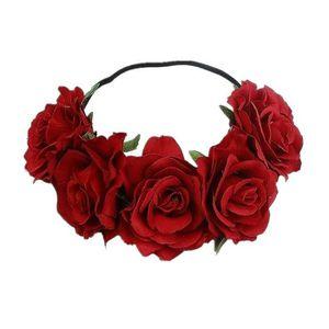 Couronne Fleurs Bandeau Cheveux Headband Fleurs Rouge Blanc Vert Accessoire Cheveux