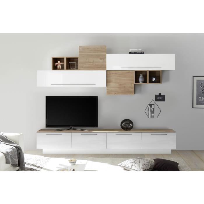 LUDOVICA 5 LAQUE BLANC ET NOYER ENSEMBLE COMPOSITION MURALE MEUBLE TV TENDANCE