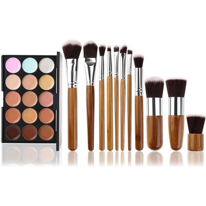11 Pcs Pinceaux Maquillage Trousse + 15 Couleurs Palette de Maquillage Correcteur Camouflage Crème Cosmétique Set