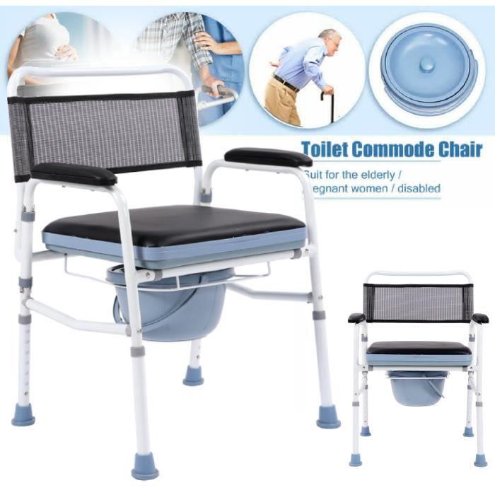 Chaise percée - Chaise toilette - Avec dossier - Acier - Commode Chaise percée pliante - Avec couvercle et pliage