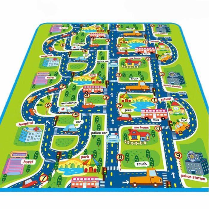 Tapis de Jeu Rectangle Géant Circuit Voiture de Course Cadeau pour Bébé Enfant Tapis Pique-nique