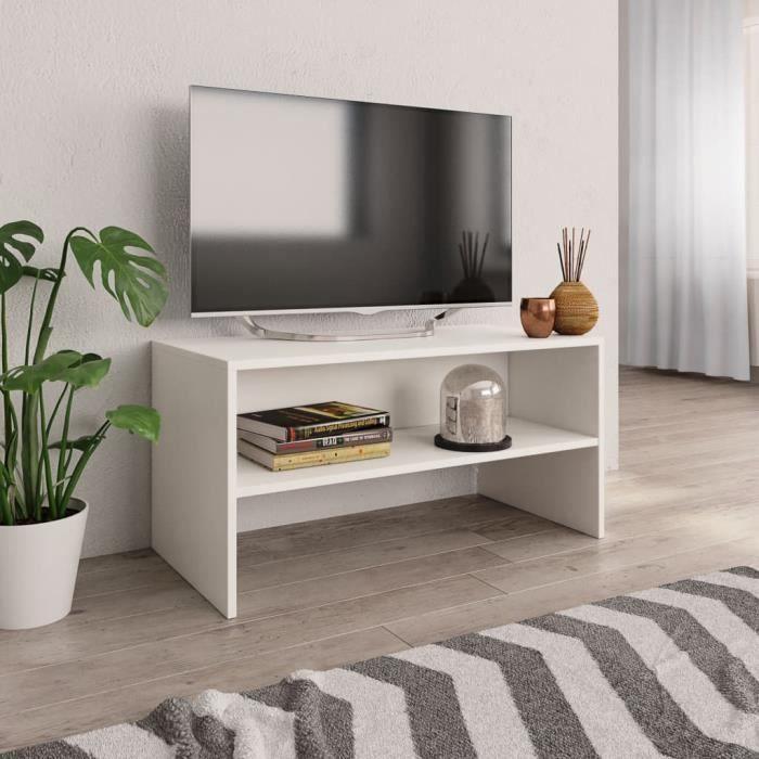 *52020 Meuble TV Scandinave - Meuble HI-FI Meuble de Télévision Blanc 80 x 40 x 40 cm Aggloméré