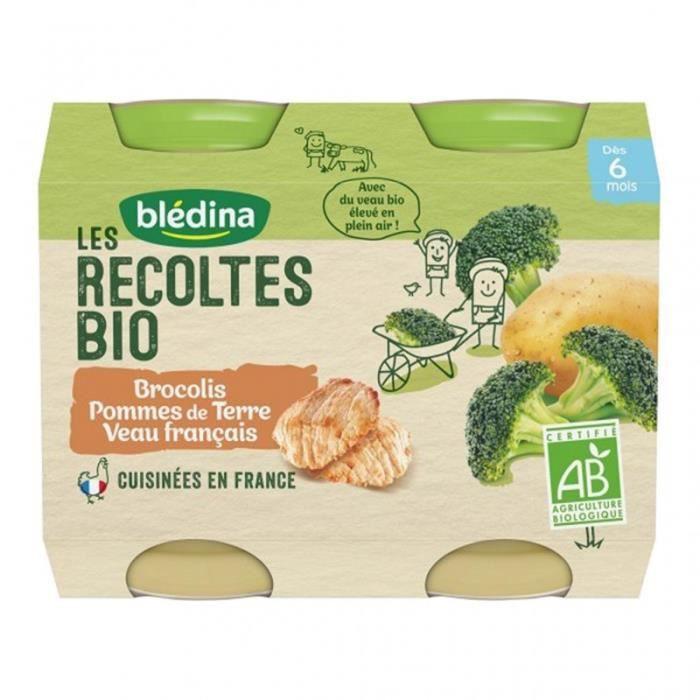 Blédina Les Récoltes Bio Brocolis Pommes de Terre Veau Français (dès 6 mois) par 2 pots de 200g (lot