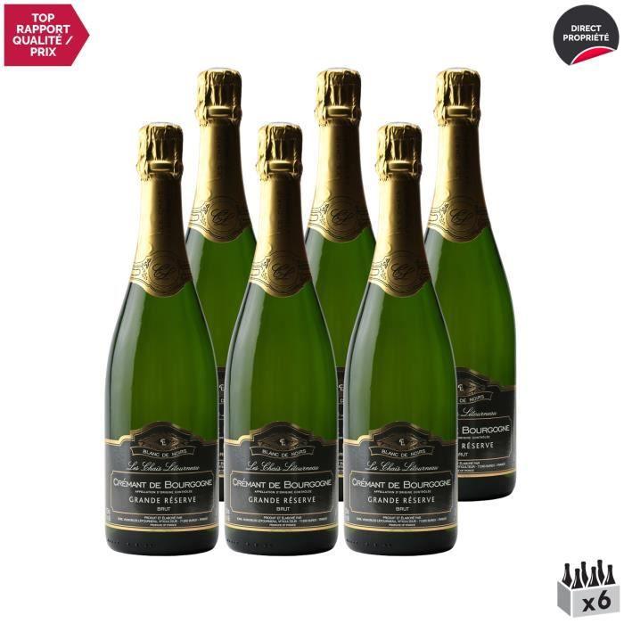 Crémant de Bourgogne Blanc de Noirs Grande Réserve Brut Blanc - Lot de 6x75cl - Les Chais Letourneau - Vin effervescent AOC Blanc de