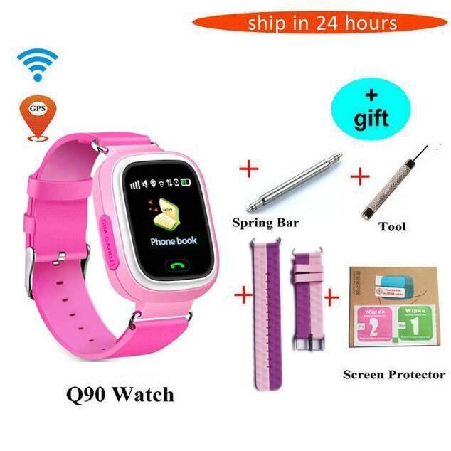 Q90 GPS montre intelligente bébé téléphone enfants GPS Wifi montre int -Pink more belt Russian GPS add wifi16210