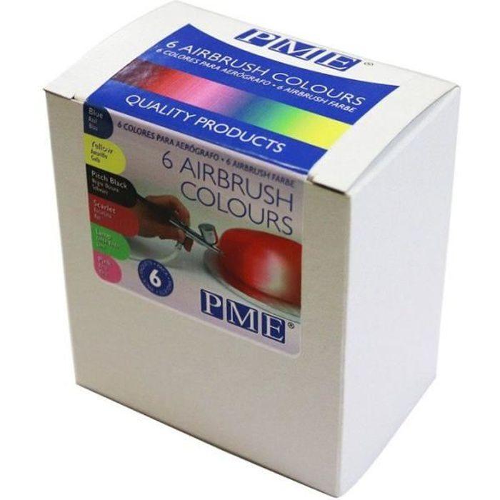 Kit de 6 colorants alimentaires pour aérographe - 6 x 25 ml