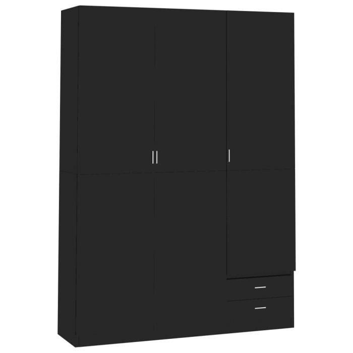Armoire de rangement Garde-robe Armoire de chambre armoire à linge à 3 portes Noir brillant 120x50x180 cm Aggloméré