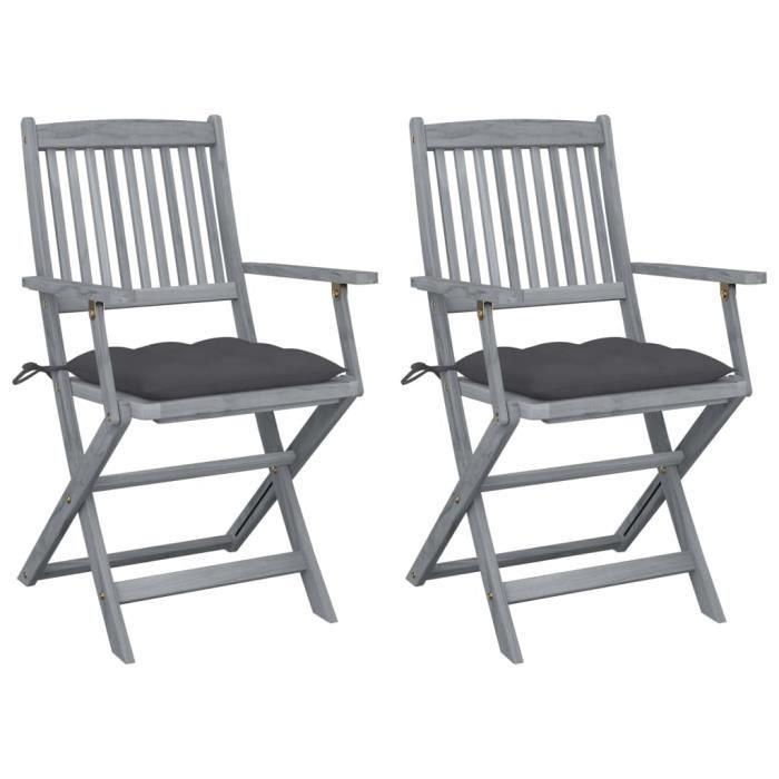 HOME•2512Pack de 2 Chaises pliables d'extérieur - Fauteuils de Jardin Chaises de Camping Professionnel avec coussins Bois d'acacia