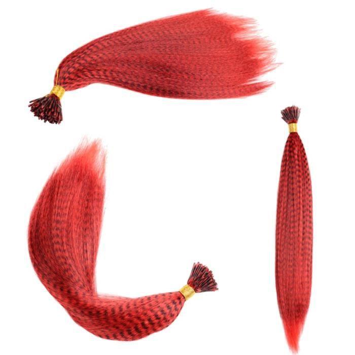 XMF-1 16 pouces -Mèches colorées pour extensions de cheveux synthétiques, fausse plume arc en ciel