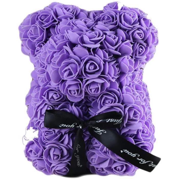 Rose Ourson, Ours Artificielle Toujours Cadeau Anniversaire Anniversaire Cadeau Saint Valentin, 25cm, Violet