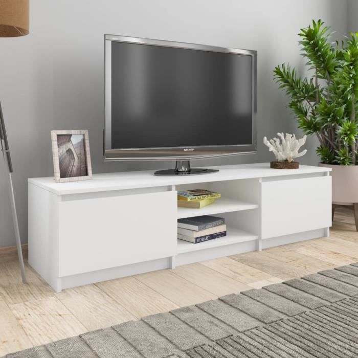 140 x 40 x 35,5 cm Meuble TV Blanc Aggloméré 800648 QI044