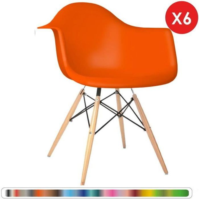 6 x Fauteuil Design Scandinave Orange pieds: bois naturel Mobistyl WT-DAWL-OR-6