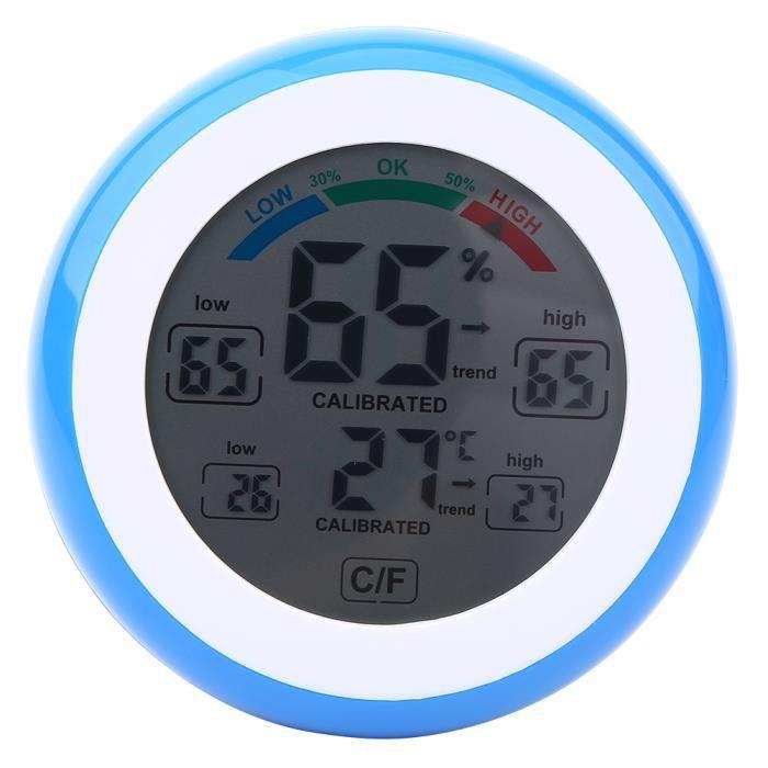 Garosa Thermomètre intérieur 1Pc Creative Digital LCD Thermomètre De Température Hygromètre Humidimètre Électronique (Bleu)