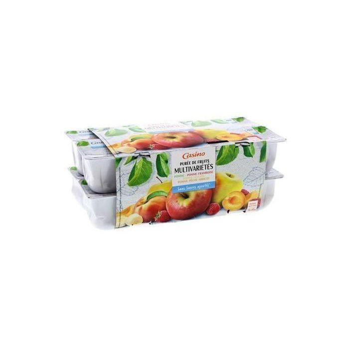 CASINO Coupelles de Purée de fruits Multivariétés - Sans sucres ajoutés - 16 x 90 g