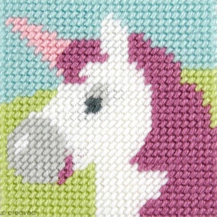 Kit canevas pour enfant - La licorne Kit créatif broderie canevas pour enfant: hème /motif: La licorneNiveau : FacileCollection :