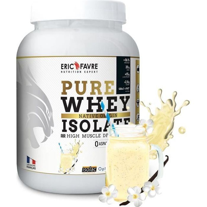 Eric Favre - Pure Whey Proteine Native 100% Isolate - Proteines - Vanille - 750g