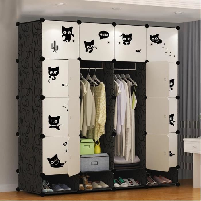 FREOSEN Armoire de Chambre 16 Cubes + 4 Cubes Chaussures, Meuble Rangement Penderie Plastique 16 Cubes Modulables Noir Blanc