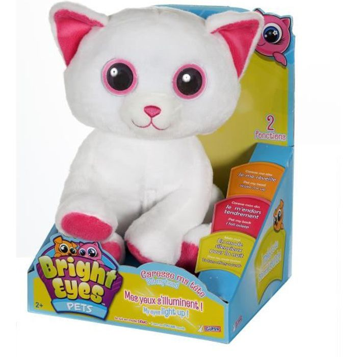 GIPSY Peluche Lumineuse Interactive Chat Bright Eyes Pets 25cm