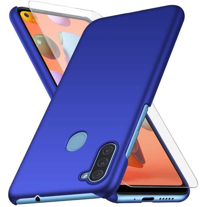 Coque Samsung Galaxy A11 + Verre trempé Protection écran, Bleu Très Mince Protection Coque Étui Housse Rigide Case Cover pour
