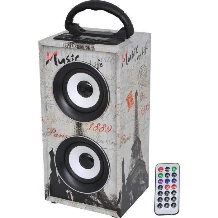 ENCEINTE AMPLIFIEE BATTERIE USB BLUETOOTH SD MP3 TUNER FM FREESOUND-PARIS PA SONO DJ LED
