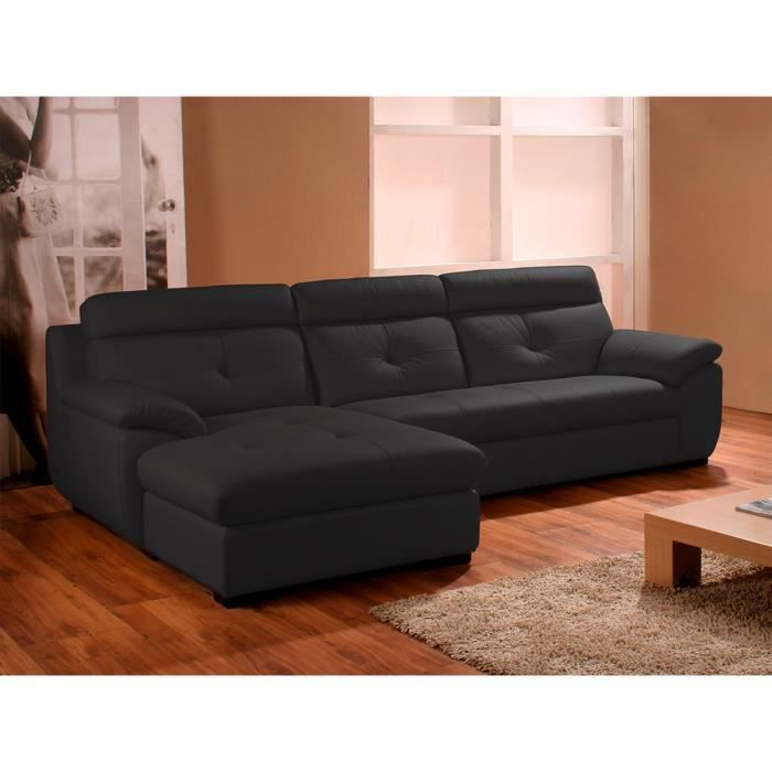 Canapé d'angle gauche en cuir prestige noir DANA