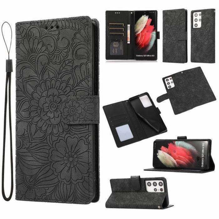 Pochette Protection Etui Housse pour Samsung galaxy A72 5G Coque Fermeture Magnétique Flip Case noir + 2PCS Verre Trempé