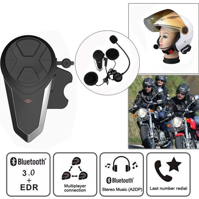 BT-S3 Moto Intercom 1000m Bluetooth Casque Moto Mains Libres Kit,Fit pour Casque Moto & Ski (2PCS)
