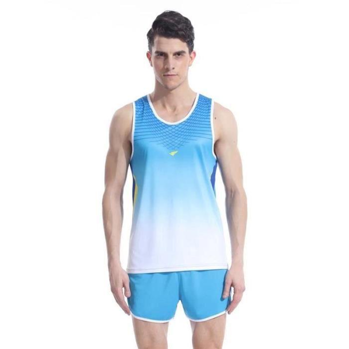 Ensemble Maillot et Short Homme Athlétisme Running Vetement de Sport Séchage Rapide Respirant