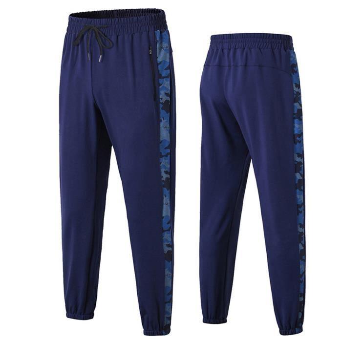 Basic Pantalons Sport Homme Jambes Élastiques Taille Élastiquée Lâche Poches avec Fermeture Éclair Jogging Training Sweatpants Bleu