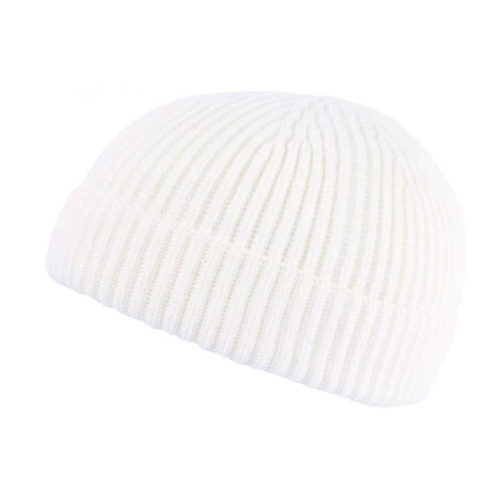 Bonnet Docker Blanc en Laine Homme et Femme Hiver Tendance Louy - Taille unique - Blanc