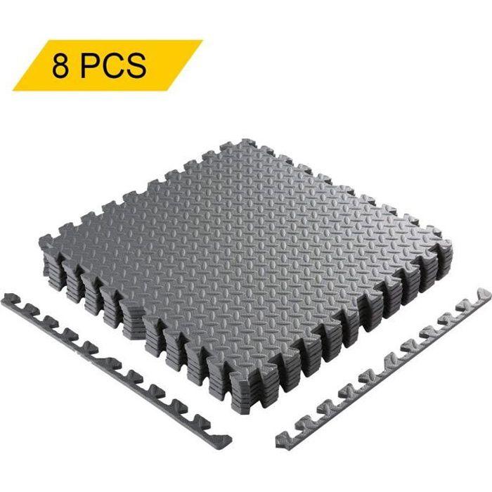 8PCS Tapis de Protection de Sol 60 x 60cm Dalles en Mousse , Gym, Musculation