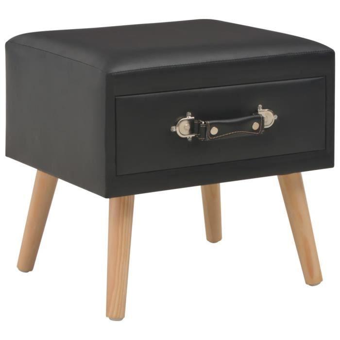 Table de CHEVET Scandinave Table de Nuit Armoire Noir 40x35x40 cm Similicuir
