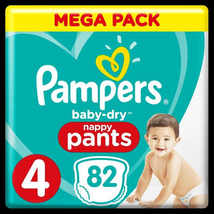 PAMPERS Baby Dry Pants Taille 4 - 9 à 15 kg - 82 Couches-culottes - Mega Pack