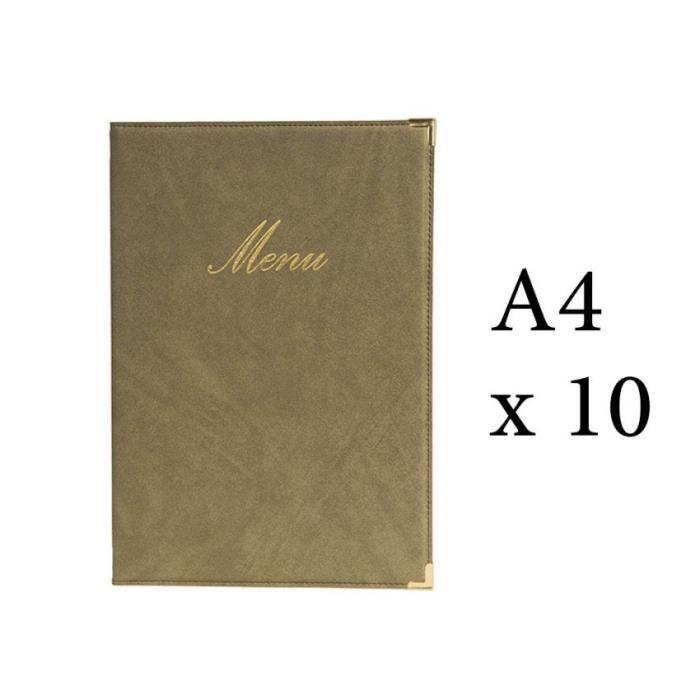 Lot 10 protège-menu Classique format A4 couleur beige - Porte menu hôtel restaurant - Securit 5 Beige