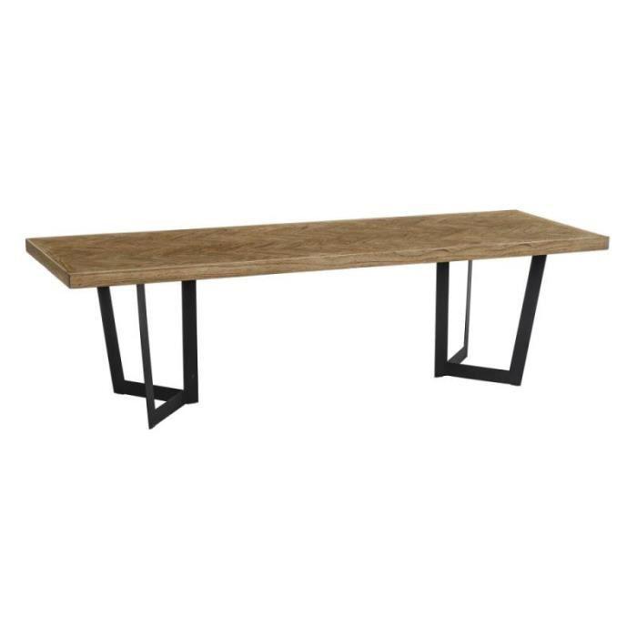 Table de repas rectangulaire 300 cm Bois parqueté/Métal - IFRANE - L 300 x l 110 x H 76
