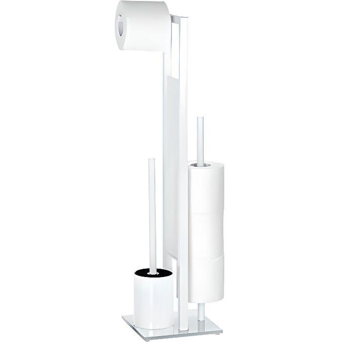 Combiné WC Rivalta, brosse WC et dérouleur papier toilette, blanc