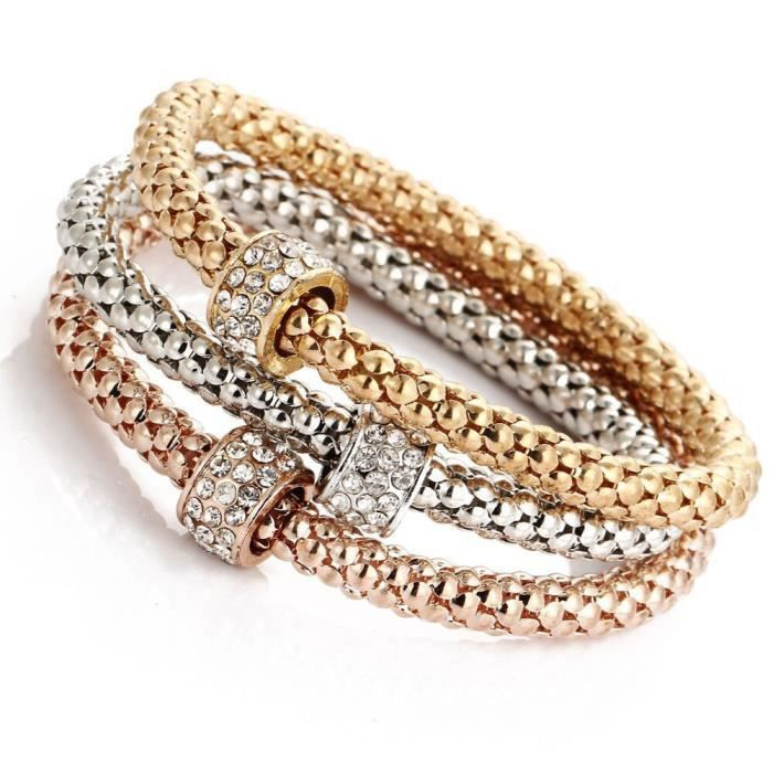 Fashion Femmes lots Style Or Strass Charme Bangle Cuff Bracelet Bijoux Cadeau