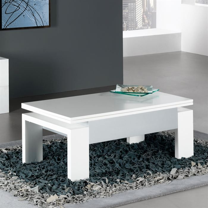 Table basse relevable laque blanc - Table relevable blanc laque ...