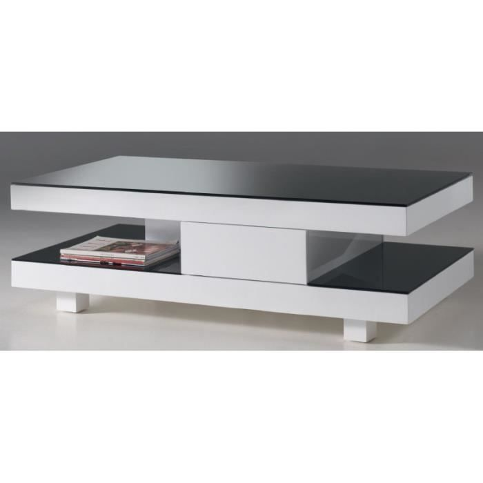 Table basse design rectangulaire blanc laqu ulane blanc - Table basse design blanc ...
