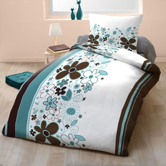 couette imprim e microfibre 140x200 cm celadon achat. Black Bedroom Furniture Sets. Home Design Ideas