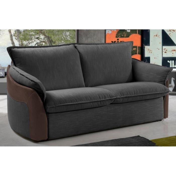natura canap lit rapido convertible 120 cm tweed gris graphite cuir co marron achat vente. Black Bedroom Furniture Sets. Home Design Ideas