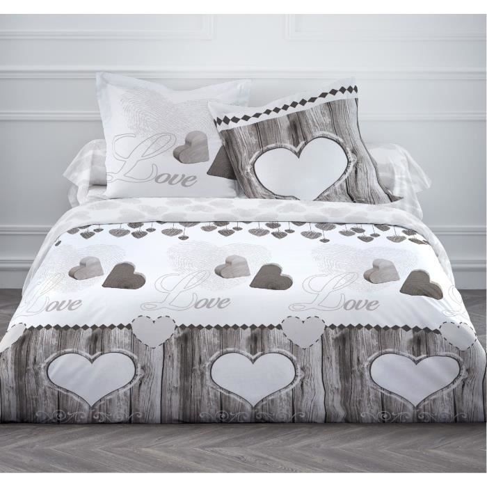 Today parure de couette wood love 100 coton 1 housse de for Parures de couettes