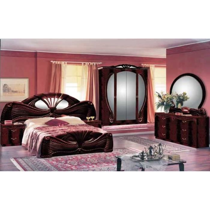 chambre a coucher complete modele pamela marron acajou laqu e achat vente chambre compl te. Black Bedroom Furniture Sets. Home Design Ideas