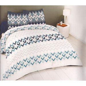 Lamas Cactus zig zag en coton mélangé bleu réversible double 4 Pièces Ensemble De Literie