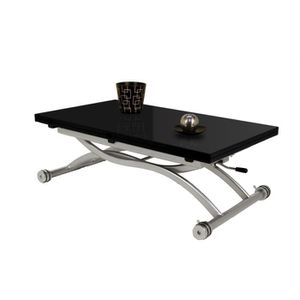TABLE BASSE Table basse relevable Mirage Dessus Verre Noir