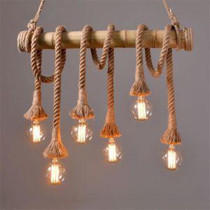 LUSTRE ET SUSPENSION Bambou chanvre corde pendante lumières restaurant